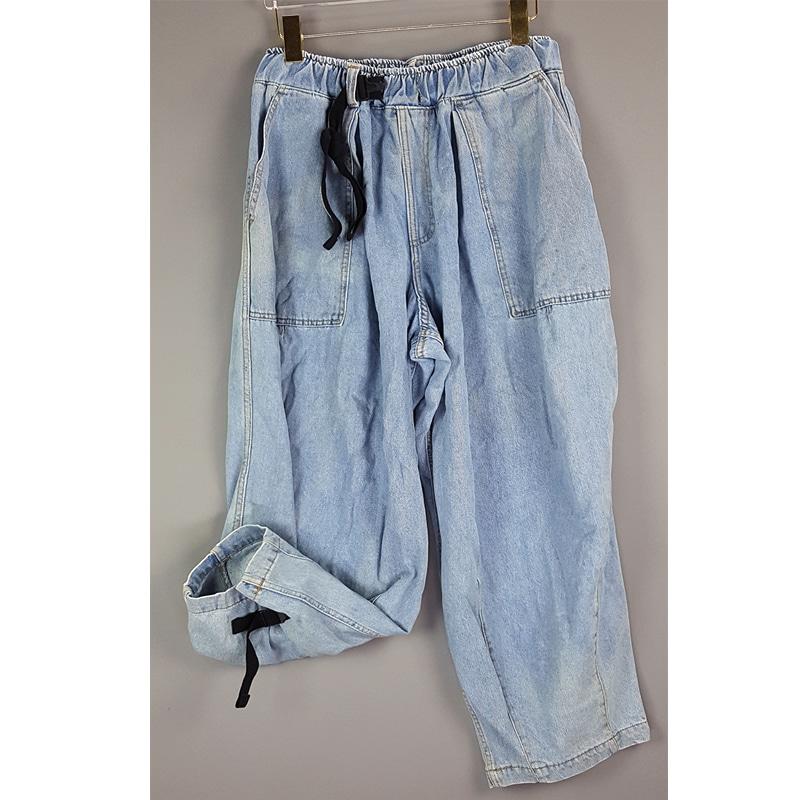 BTF01001 LOOSE FIT DENIM JORGER PANTS 와이드 루즈핏 조거 데님팬츠 (구제 빈티지) XL